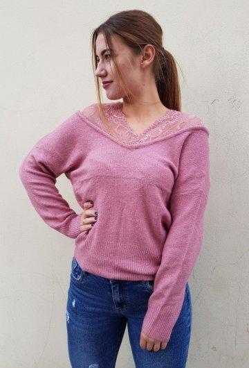 Sweter Wrzosowy z koronką