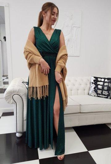 Sukienka Salma Butelkowa Zieleń z Brokatem 5