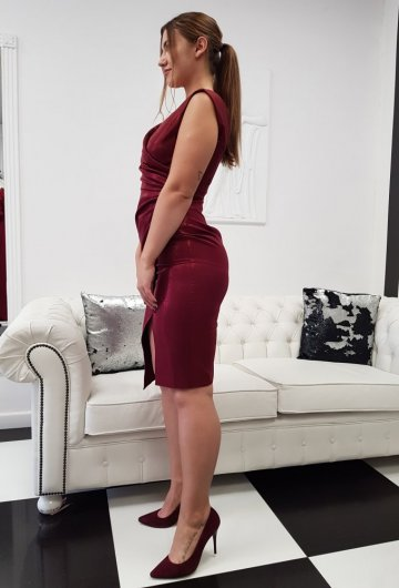 Sukienka Laura Bordo Połysk 1