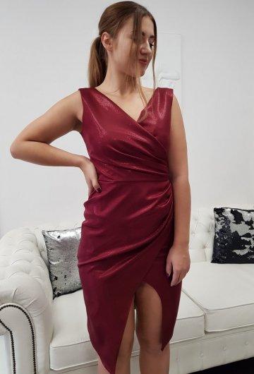 Sukienka Laura Bordo Połysk 4
