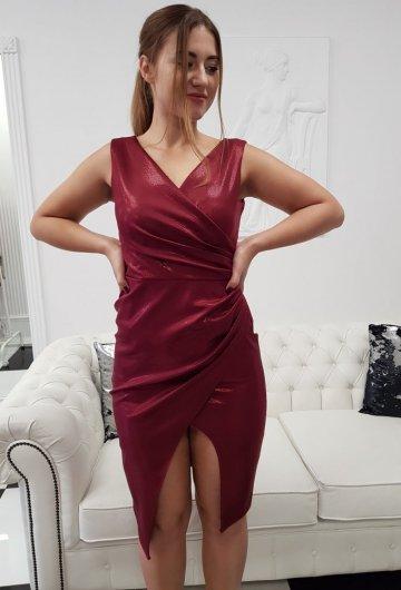 Sukienka Laura Bordo Połysk 8