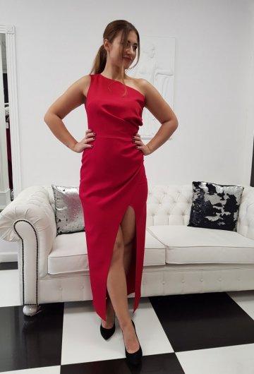 Sukienka Asymetria Karmazynowa