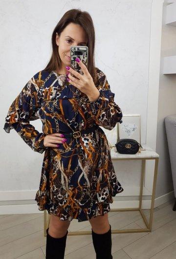 Sukienka Łańcuchy Granatowa