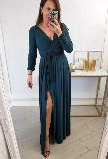 Sukienka Salma Zielona Długi Rękaw
