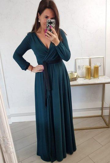 Sukienka Salma Zielona Długi Rękaw 2