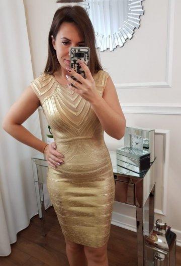 Sukienka Bandażowa Złota