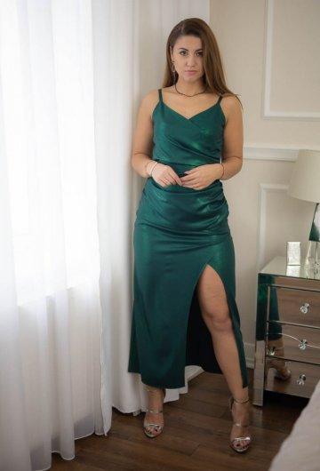 Sukienka na Ramiączkach Zielona z Połyskiem 3