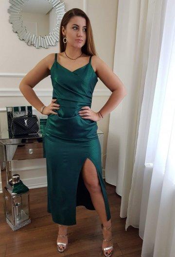 Sukienka na Ramiączkach Zielona z Połyskiem 1