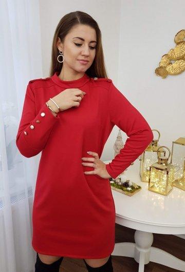 Sukienka Guziki Czerwona