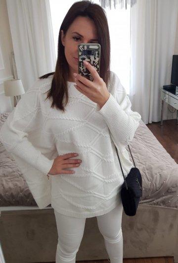 Sweter Ponczo Biały