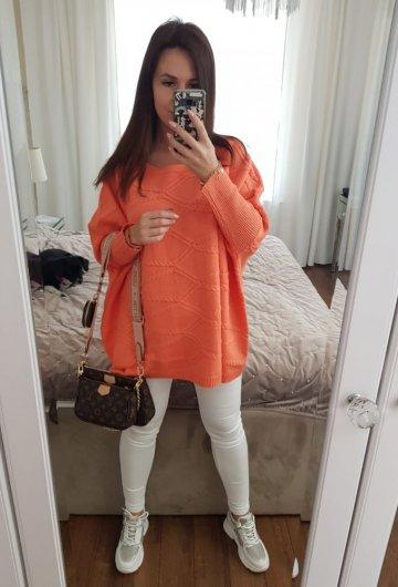 Sweter Ponczo Pomarańcz