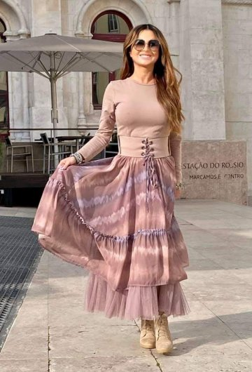 Sukienka Maxi Pudrowa
