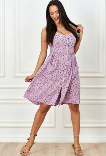 Sukienka na ramiączkch w kwiatki fioletowa