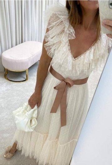 Sukienka Kremowa w groszki