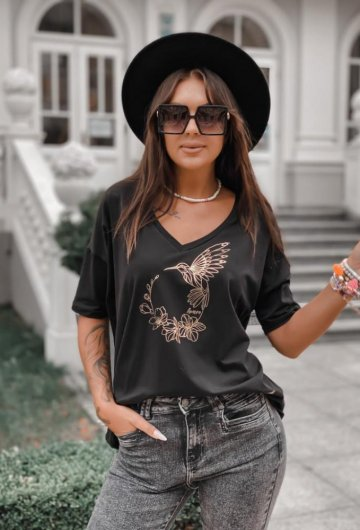 T-shirt Koliber Czarny +size