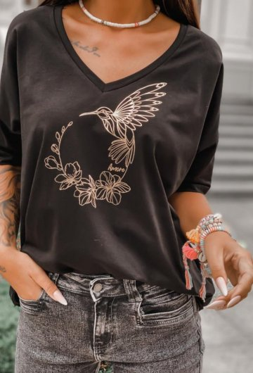 T-shirt Koliber Czarny +size 8