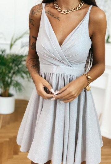 Sukienka Lola szara z brokatem