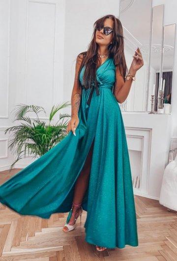 Sukienka Salma Zielona Brokat