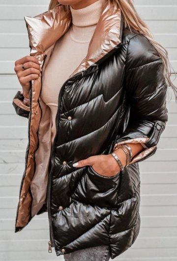 Płaszcz Metaliczny Czarny