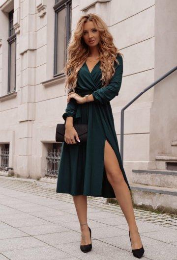 Sukienka Salma Midi Butelkowa Zieleń