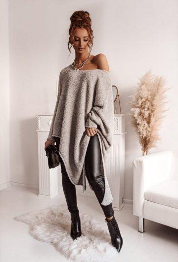Sweter Asymetryczny Szary
