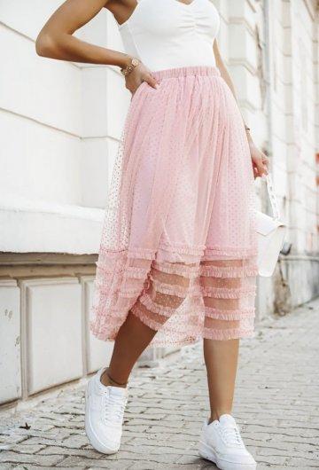 Spódnica midi w groszki różowa
